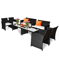 Tangkula 8-PCS Wicker Patio Conversation Set ,Outdoor Rattan Sofas with Table Set, Patio Furnitu ...
