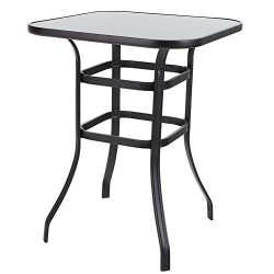 PHI VILLA Outdoor Bar Table, Bar Height Tall Patio Bistro Table, Metal Frame Tempered Glass Tabl ...