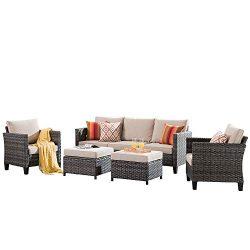 XIZZI Patio Furniture, Outdoor Garden Sofa sectional, Wicker Patio Furniture with Wather Resista ...