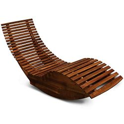 cucunu Sun Lounger Rocking Wooden Chaise Lounge Outdoor Deck Pool Garden Chair Sauna Rocking Bed ...
