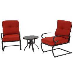 BonusALL Outdoor 3-Patio Bistro Sets Springs Metal Motion Chairs and Round Table Set with Wrough ...