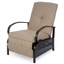 Kozyard Adjustable Patio Reclining Lounge Chair with Strong Extendable Metal Frame and Removable ...