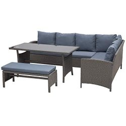 Outsunny 4 Piece Modern Outdoor Rattan Wicker Furniture Set with Dining Table Bench & Sofa f ...