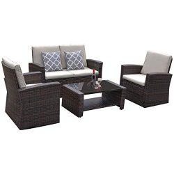 YITAHOME 5 Piece Outdoor Patio Furniture Sets, Garden Conversation Wicker Sofa Set, Outdoor Indo ...
