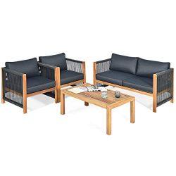 Tangkula Outdoor Wood Furniture Set, Acacia Wood Frame Loveseat Sofa, 2 Single Chairs and Coffee ...