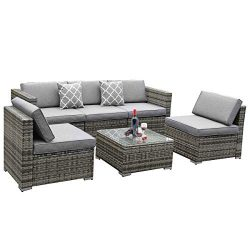 YITAHOME 6 Piece Outdoor Patio Furniture Sets, Garden Conversation Wicker Sofa Set, and Patio Se ...