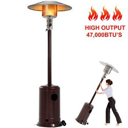 47000BTU Commercial Gas Standing Patio Heater LP Propane Heater Garden Tall Outside Outdoor Heat ...