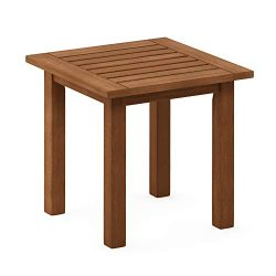 Furinno FG18506 Tioman Hardwood Patio Furniture Outdoor End Table, Natural