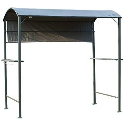 Outsunny 7 ft Outdoor Patio BBQ Grill Canopy Gazebo Tent with Side Awning, 2 Exterior Serving Sh ...