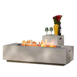 Christopher Knight Home 296666 Jaxon Outdoor Fire Table with Lava Rocks & Tank Holder (Light ...