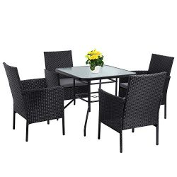 Shintenchi Indoor Outdoor 5 Pieces Patio Dining Sets, Wicker Rattan Outdoor Square Glass Top Pat ...