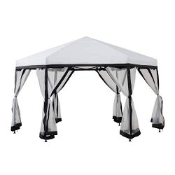 Sunjoy A101012602 Lambert 11×11 ft. 2-Tone Pop Up Portable Hexagon Steel Gazebo, White and  ...