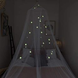 Zeke and Zoey Kids Hanging Bed Canopy for Girls Bed or Boys with Glow in The Dark Stars to fit F ...