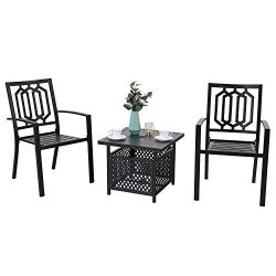 MF STUDIO 3-Piece Steel Outdoor Bistro Furniture Set,Patio Set with 2 x Dining Chairs and 1 x Sq ...