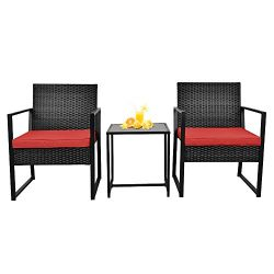 3 Pieces Patio Wicker Conversation Sets – Outdoor Patio Furniture Sets – Bistro Set  ...