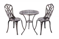 Patio Sense 62696 Theon Antique Bronze 3pc Bistro Set