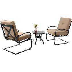 Sophia & William Outdoor Patio Springs Motion Chairs 3PCS Metal Bistro Furniture Set with Ro ...