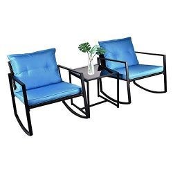 USSerenaY 3 Pieces Patio Rocking Wicker Bistro Set – Outdoor Patio Furniture Sets –  ...