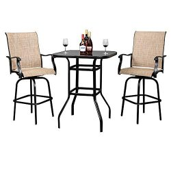 VINGLI 3PCS Patio Bar Set Swivel Bar Stools Set, Upgraded Outdoor Bistro Set, 360 Degree Swivel  ...