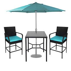 Kinbor 3 Piece Outdoor Wicker Bar Height Table and Chairs Set PE Rattan Bar Height Bistro Set