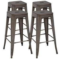 BestOffice Counter Height Metal Bar Stools Set of 4 Patio Stools Industrial Bar Chairs Indoor Ou ...