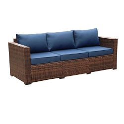 3-Seat Patio Wicker Sofa – Outdoor Rattan Couch Furniture w/Steel Frame and Blue Cushion