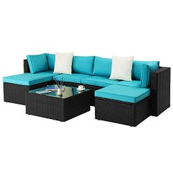 Waleaf Outdoor Furniture 7-Piece Rattan Sectional Patio Sofa Set with Washable Cushions, Outdoor ...