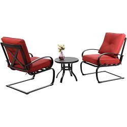 Sophia & William Spring Motion Patio Chairs Outdoor Bistro Table Set Lounge Cushioned Chairs ...