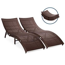 Best Choice Products Set of 2 Patio All-Weather Folding Wicker Chaise Lounge Chairs w/Handles, N ...
