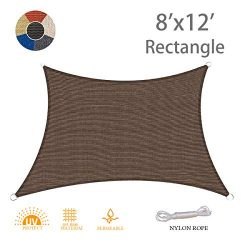 AXT SHADE 8′ x 12′ Rectangle Sun Shade Sail UV Block for Outdoor Patio Garden Backya ...
