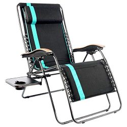 PORTAL Oversized Padded Zero Gravity Chairs, XL Seat Adjustable Patio Lounge Recliner Chair with ...