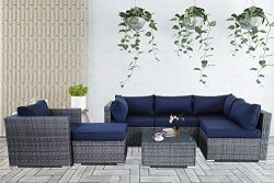 Patio Conversation Furniture Set 7-Piece Gray PE Wicker Navy Cushion Fashion Color Rattan Sofa O ...