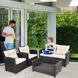 osea 4pcs Wicker Conversation Sofa Set, Outdoor Indoor Backyard Porch Garden Sofa Furniture with ...