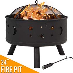 Vnewone Outdoor Fire Pits 24″ Fire Bowl Metal FirePit Patio Garden Stove Wood Burning Roun ...