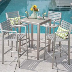 Christopher Knight Home Cape Coral Outdoor 5-Piece Aluminum Square Bar Set by Grey + Silver Temp ...