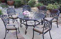 Darlee Cast Aluminum Elisabeth 7-Piece 53″ Round Dining Set, Antique Bronze