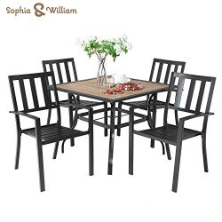 Sophia & William 5 Piece Outdoor Patio Dining Set Metal Table and Chairs Set with 37″  ...
