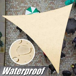 ColourTree 12′ x 12′ x 12′ Beige Triangle Waterproof Sun Shade Sail Canopy Awn ...