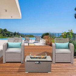Outdoor 3-Piece Patio Furniture w Propane Fire Pit, Pearl Gray Weave Wicker Armchair w 32-inch W ...
