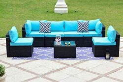 Gotland 7-Piece Outdoor Rattan Sectional Sofa Wide Armrest Patio Wicker Furniture Set(Black),wit ...