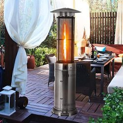 HAPPYGRILL Outdoor Patio Heater W/Adjustable Heat 41,000BTU, Stainless Steel Patio Propane Heate ...