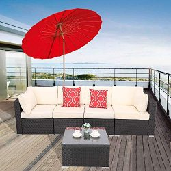 Furnimy 5 Pieces Outdoor Patio Furniture Sets Patio Sectional Sofa Rattan Wicker Lawn Conversati ...