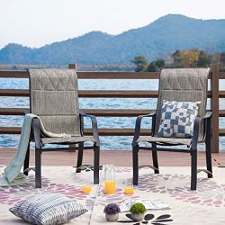LOKATSE HOME Patio Outdoor Mesh Dining Chairs Set of 2, Grey