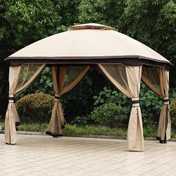 ABCCANOPY 10′ X12′ Patio Gazebo Canopy, Double Soft-top Garden Shelter Tent with Mos ...