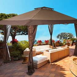 PHI VILLA 13'x13′ UV Block Sun Shade Canopy with Hardware Kits, Gazebo Shade for Pat ...