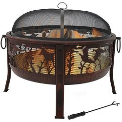 Sunnydaze Pheasant Hunting Outdoor Fire Pit – 30 Inch Large Round Wood Burning Backyard &a ...