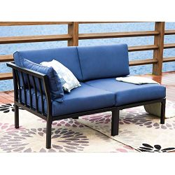 LOKATSE HOME 2 Piece Corner & Armless Sofa Outdoor Furniture Sectional Couch Set Patio Loves ...