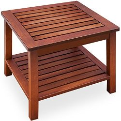 cucunu Side Table for Patio with Storage Wooden Outdoor Indoor Small Coffee End Table Books Rust ...