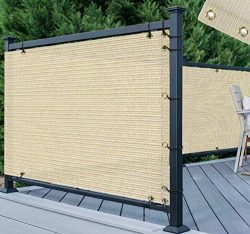 TANG 3′ x 50′ Beige Residential Commercial Privacy Deck Fence Screen 200 GSM Weather ...