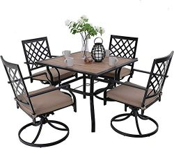 MFSTUDIO Metal Patio Dining Sets Club Bistro Bar Sets Swivel Dining Rocker Chair with 2.7″ ...